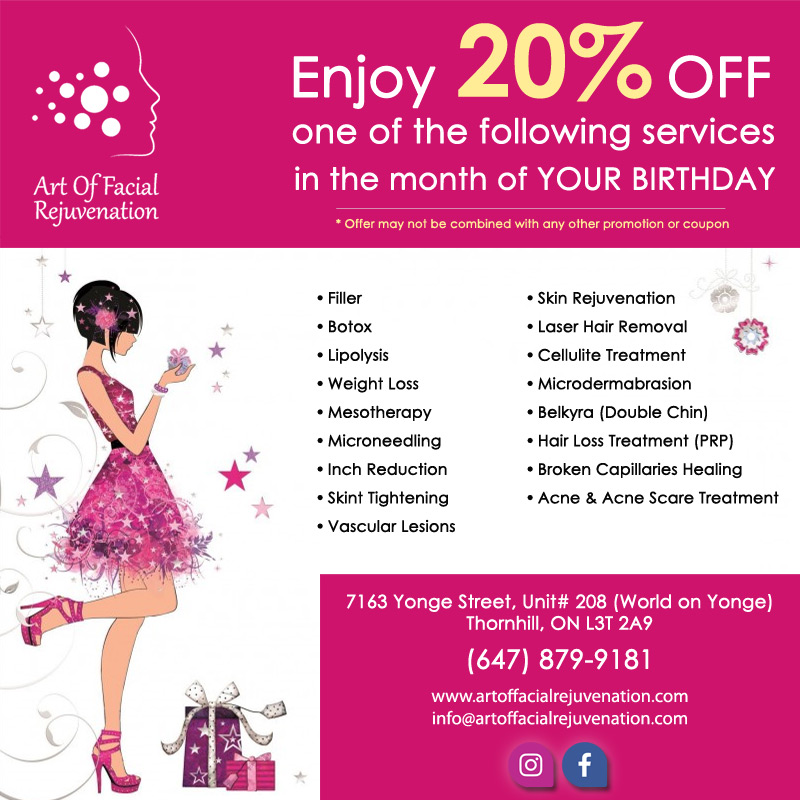 Art Of Facial Rejuvenation Clients Birthday Discount