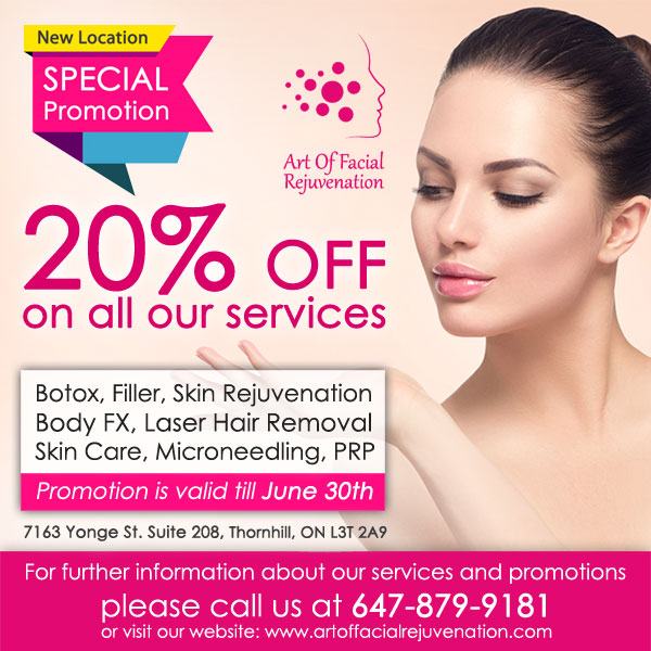 Art Of Facial New Location Promotions 20 Percent Popup